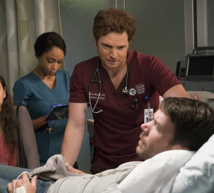 "CHICAGO MED -- ""Be My Better Half"" Episode 401 -- Pictured: (l-r) Yaya DaCosta as April Sexton, Nick Gehlfuss as Will Halstead -- (Photo by: Elizabeth Sisson/NBC)"