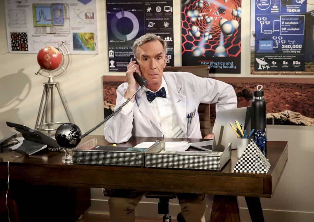 """The Conjugal Configuration"" - Pictured: Bill Nye (Himself). Sheldon and Amy's honeymoon runs aground in New York, while Penny and Leonard discover they are uncomfortably similar to Amy's parents, Mr. and Mrs. Fowler (Teller and Kathy Bates). Also, Koothrappali insults physicist Neil deGrasse Tyson and starts a Twitter war, on the 12th season premiere of THE BIG BANG THEORY, on a special night, Monday, Sept. 24 (8:00-8:30 PM, ET/PT) on the CBS Television Network. Photo: Michael Yarish/Warner Bros. Entertainment Inc. © 2018 WBEI. All rights reserved."