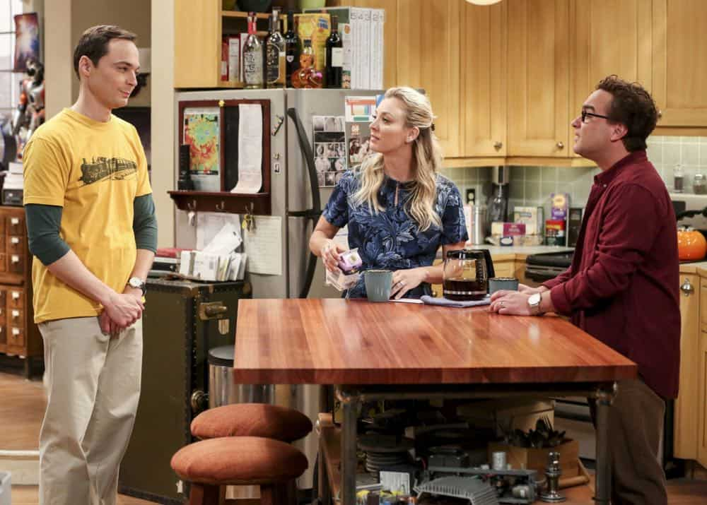 """The Wedding Gift Wormhole"" -- Pictured: Sheldon Cooper (Jim Parsons), Penny (Kaley Cuoco) and Leonard Hofstadter (Johnny Galecki). Sheldon and Amy drive themselves crazy trying to figure out what ""perfect gift"" Leonard and Penny gave them for their wedding. Also, Koothrappali decides he wants to settle down and asks his father to arrange a marriage for him, on THE BIG BANG THEORY, when it moves to its regular time slot, Thursday, Sept. 27 (8:00-8:31 PM, ET/PT) on the CBS Television Network. Photo: Michael Yarish/CBS ©2018 CBS Broadcasting, Inc. All Rights Reserved."