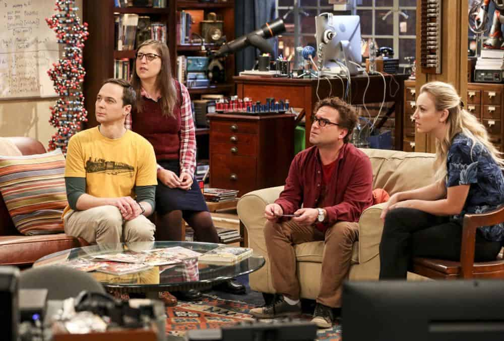 """The Wedding Gift Wormhole"" -- Pictured: Sheldon Cooper (Jim Parsons), Amy Farrah Fowler (Mayim Bialik), Leonard Hofstadter (Johnny Galecki) and Penny (Kaley Cuoco). Sheldon and Amy drive themselves crazy trying to figure out what ""perfect gift"" Leonard and Penny gave them for their wedding. Also, Koothrappali decides he wants to settle down and asks his father to arrange a marriage for him, on THE BIG BANG THEORY, when it moves to its regular time slot, Thursday, Sept. 27 (8:00-8:31 PM, ET/PT) on the CBS Television Network. Photo: Michael Yarish/CBS ©2018 CBS Broadcasting, Inc. All Rights Reserved."