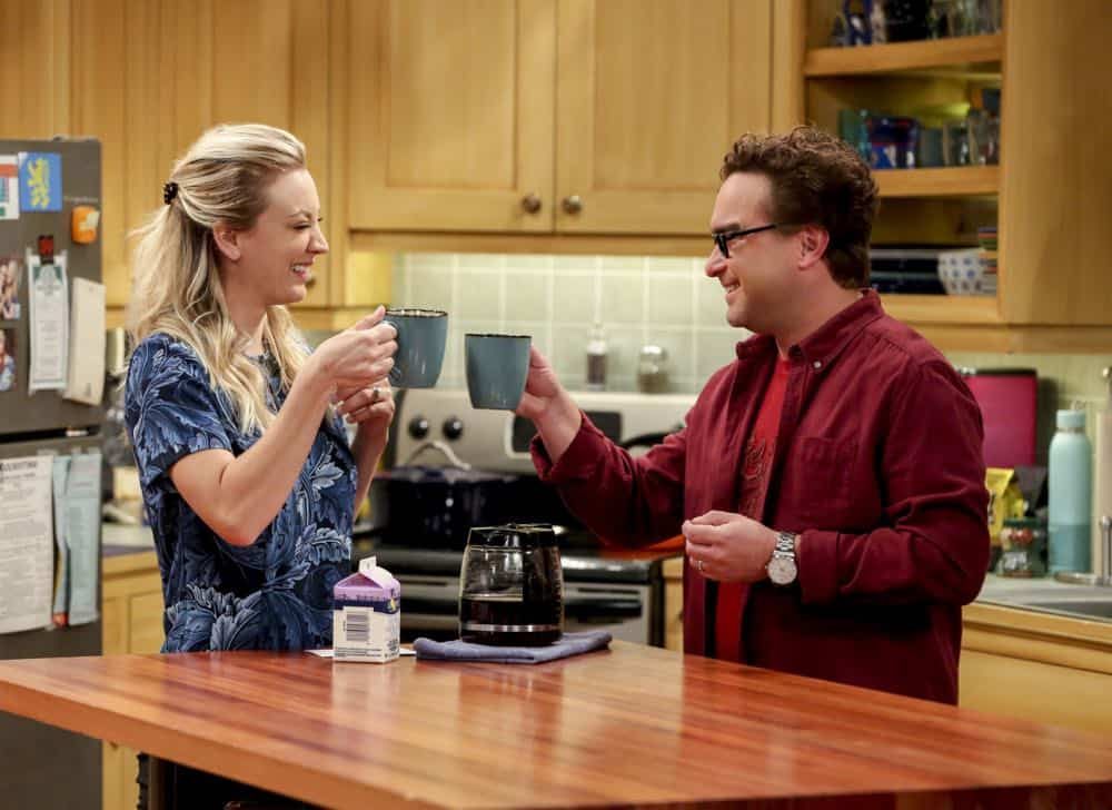 """The Wedding Gift Wormhole"" -- Pictured: Penny (Kaley Cuoco) and Leonard Hofstadter (Johnny Galecki). Sheldon and Amy drive themselves crazy trying to figure out what ""perfect gift"" Leonard and Penny gave them for their wedding. Also, Koothrappali decides he wants to settle down and asks his father to arrange a marriage for him, on THE BIG BANG THEORY, when it moves to its regular time slot, Thursday, Sept. 27 (8:00-8:31 PM, ET/PT) on the CBS Television Network. Photo: Michael Yarish/CBS ©2018 CBS Broadcasting, Inc. All Rights Reserved."