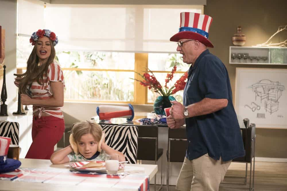 "MODERN FAMILY - ""I Love a Parade"" - The Pritchett-Dunphy-Tucker clan are going to be setting off more than a few fireworks when they get together at the annual Fourth of July parade where Jay will be acting as the grand marshal. Meanwhile, Haley's goodbye with Arvin before his trip to Switzerland doesn't go as well as she pictured it and is distracted by the return of an old flame during the 10th season premiere, on ""Modern Family,"" WEDNESDAY, SEPT. 26 (9:00-9:31 p.m. EDT), on The ABC Television Network. (ABC/Kelsey McNeal) SOFIA VERGARA, JEREMY MAGUIRE, ED O'NEILL"