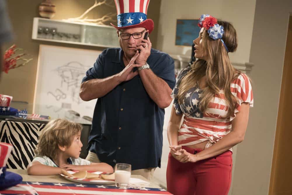 "MODERN FAMILY - ""I Love a Parade"" - The Pritchett-Dunphy-Tucker clan are going to be setting off more than a few fireworks when they get together at the annual Fourth of July parade where Jay will be acting as the grand marshal. Meanwhile, Haley's goodbye with Arvin before his trip to Switzerland doesn't go as well as she pictured it and is distracted by the return of an old flame during the 10th season premiere, on ""Modern Family,"" WEDNESDAY, SEPT. 26 (9:00-9:31 p.m. EDT), on The ABC Television Network. (ABC/Kelsey McNeal) JEREMY MAGUIRE, ED O'NEILL, SOFIA VERGARA"
