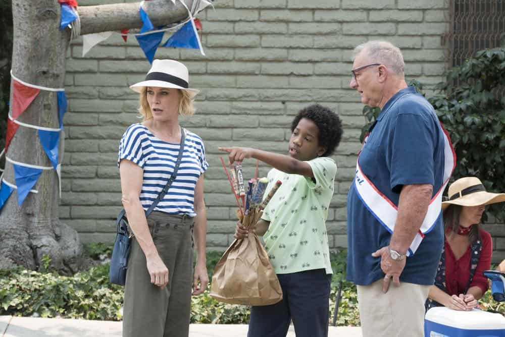 "MODERN FAMILY - ""I Love a Parade"" - The Pritchett-Dunphy-Tucker clan are going to be setting off more than a few fireworks when they get together at the annual Fourth of July parade where Jay will be acting as the grand marshal. Meanwhile, Haley's goodbye with Arvin before his trip to Switzerland doesn't go as well as she pictured it and is distracted by the return of an old flame during the 10th season premiere, on ""Modern Family,"" WEDNESDAY, SEPT. 26 (9:00-9:31 p.m. EDT), on The ABC Television Network. (ABC/Kelsey McNeal) JULIE BOWEN, NA'JAE GREEN, ED O'NEILL"