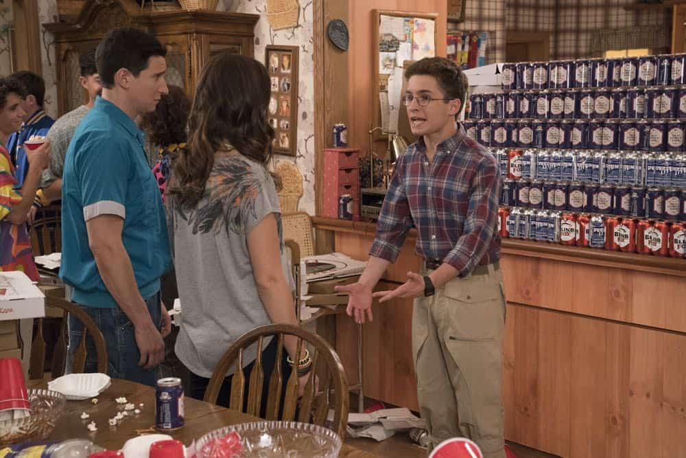 "THE GOLDBERGS - ""Sixteen Candles"" - It's Adam's 16th birthday, but his parents are too distracted by Barry and Lainey's engagement and Erica's band ambitions to remember their youngest son's big day. But the situation presents an opportunity for Adam to ask Erica to put him on the high school social map.  Meanwhile, Beverly thinks she can scare Barry and Lainey straight with the reality of being adults, on the season premiere of ""The Goldbergs,"" WEDNESDAY, SEPT. 26 (8:00–8:30 p.m. EDT), on The ABC Television Network. (ABC/Mitch Haaseth) SAM LERNER, SEAN GIAMBRONE"