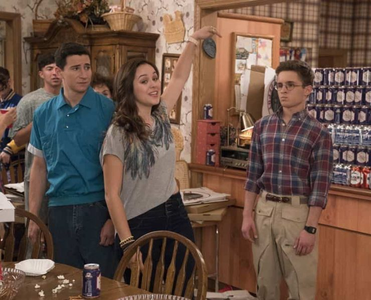 "THE GOLDBERGS - ""Sixteen Candles"" - It's Adam's 16th birthday, but his parents are too distracted by Barry and Lainey's engagement and Erica's band ambitions to remember their youngest son's big day. But the situation presents an opportunity for Adam to ask Erica to put him on the high school social map. Meanwhile, Beverly thinks she can scare Barry and Lainey straight with the reality of being adults, on the season premiere of ""The Goldbergs,"" WEDNESDAY, SEPT. 26 (8:00–8:30 p.m. EDT), on The ABC Television Network. (ABC/Mitch Haaseth) SAM LERNER, HAYLEY ORRANTIA, SEAN GIAMBRONE"
