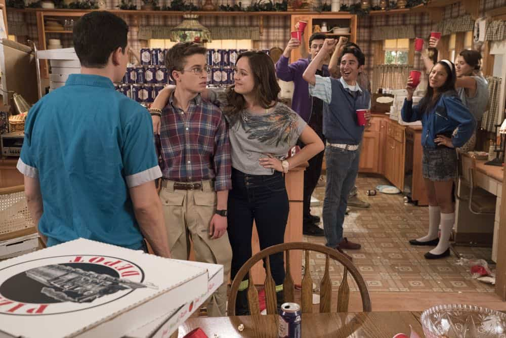 "THE GOLDBERGS - ""Sixteen Candles"" - It's Adam's 16th birthday, but his parents are too distracted by Barry and Lainey's engagement and Erica's band ambitions to remember their youngest son's big day. But the situation presents an opportunity for Adam to ask Erica to put him on the high school social map.  Meanwhile, Beverly thinks she can scare Barry and Lainey straight with the reality of being adults, on the season premiere of ""The Goldbergs,"" WEDNESDAY, SEPT. 26 (8:00–8:30 p.m. EDT), on The ABC Television Network. (ABC/Mitch Haaseth) SEAN GIAMBRONE, HAYLEY ORRANTIA"