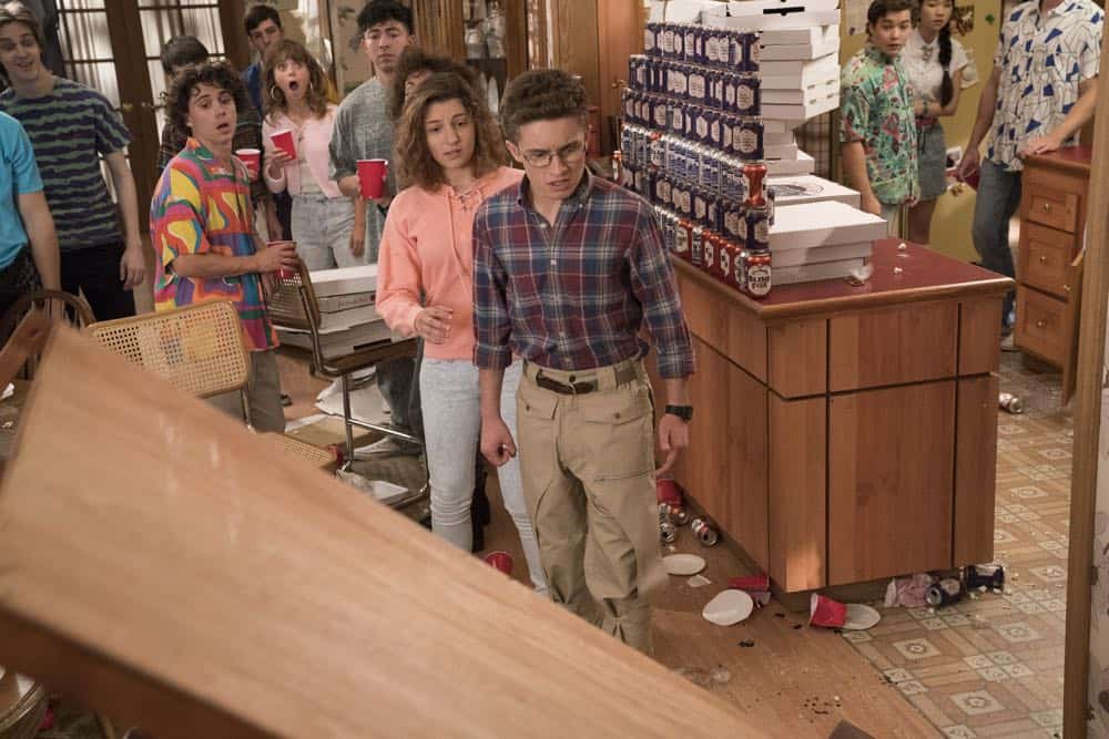 "THE GOLDBERGS - ""Sixteen Candles"" - It's Adam's 16th birthday, but his parents are too distracted by Barry and Lainey's engagement and Erica's band ambitions to remember their youngest son's big day. But the situation presents an opportunity for Adam to ask Erica to put him on the high school social map. Meanwhile, Beverly thinks she can scare Barry and Lainey straight with the reality of being adults, on the season premiere of ""The Goldbergs,"" WEDNESDAY, SEPT. 26 (8:00–8:30 p.m. EDT), on The ABC Television Network. (ABC/Mitch Haaseth) STEPHANIE KATHERINE GRANT, SEAN GIAMBRONE"