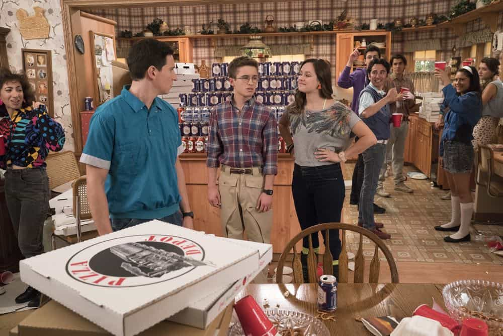 "THE GOLDBERGS - ""Sixteen Candles"" - It's Adam's 16th birthday, but his parents are too distracted by Barry and Lainey's engagement and Erica's band ambitions to remember their youngest son's big day. But the situation presents an opportunity for Adam to ask Erica to put him on the high school social map.  Meanwhile, Beverly thinks she can scare Barry and Lainey straight with the reality of being adults, on the season premiere of ""The Goldbergs,"" WEDNESDAY, SEPT. 26 (8:00–8:30 p.m. EDT), on The ABC Television Network. (ABC/Mitch Haaseth) SAM LERNER, SEAN GIAMBRONE, HAYLEY ORRANTIA"