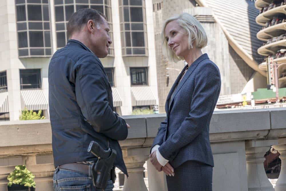 "CHICAGO P.D. -- ""New Normal"" Episode 601 -- Pictured: (l-r) Jason Beghe as Hank Voight, Anne Heche as Katherine Brennan -- (Photo by: Matt Dinerstein/NBC)"