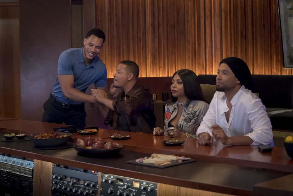 "EMPIRE: L-R: Trai Byers, Terrence Howard, Taraji P. Henson and Jussie Smollett in the ""Steal From the Thief"" Season Five premiere episode of EMPIRE airing Wednesday, September 26 (8:00-9:00 PM ET/PT) on FOX. @2018 Fox Broadcasting Co. CR: Chuck Hodes/FOX"