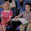 """""""A Rival Prodigy and Sir Isaac Neutron"""" - Pictured: Paige (McKenna Grace) and Sheldon (Iain Armitage). When Dr. Sturgis (Wallace Shawn) bonds with Paige (McKenna Grace), another ten year-old genius, Sheldon's jealousy leads Meemaw to intervene. Also, Mary invites Paige's family over for a play date, when YOUNG SHELDON airs in its regular time slot, Thursday, Sept. 27 (8:31-9:01 PM, ET/PT) on the CBS Television Network. Photo: Darren Michaels/Warner Bros. Entertainment Inc. © 2018 WBEI. All rights reserved."""