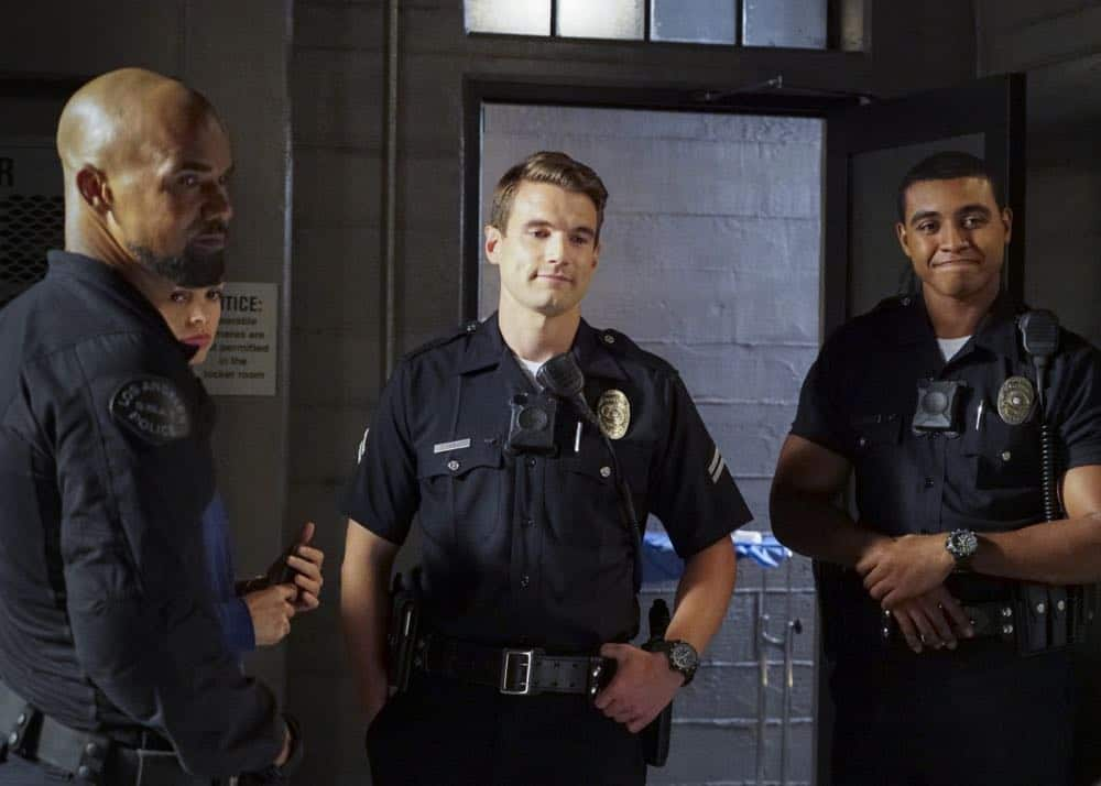 """Shaky Town"" -- The SWAT team engages in a standoff with human traffickers holding child hostages when a major earthquake hits Los Angeles during their operation and compromises the takedown. Also, while Hondo forms an unexpected personal connection with Deputy District Attorney Nia Wells (Nikiva Dionne), Jim Street has trouble adjusting to his new life as a patrol officer, on the second season premiere of S.W.A.T., Thursday, Sept. 27 (10:00-11:00 PM, ET/PT) on the CBS Television Network. Pictured: Shemar Moore as Daniel ""Hondo"" Harrelson, Lina Esco as Christina ""Chris"" Alonso, Alex Russell as Jim Street and Joseph Lee Anderson as Tony. Photo: Bill Inoshita/CBS ©2018 CBS Broadcasting, Inc. All Rights Reserved"