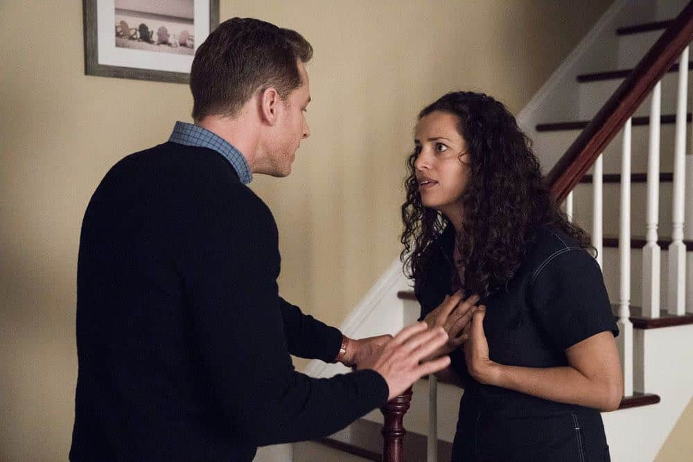 "MANIFEST -- ""Reentry"" Episode 102 -- Pictured: (l-r) Josh Dallas as Ben Stone, Athena Karkanis as Grace Stone -- (Photo by: Virginia Sherwood/NBC)"