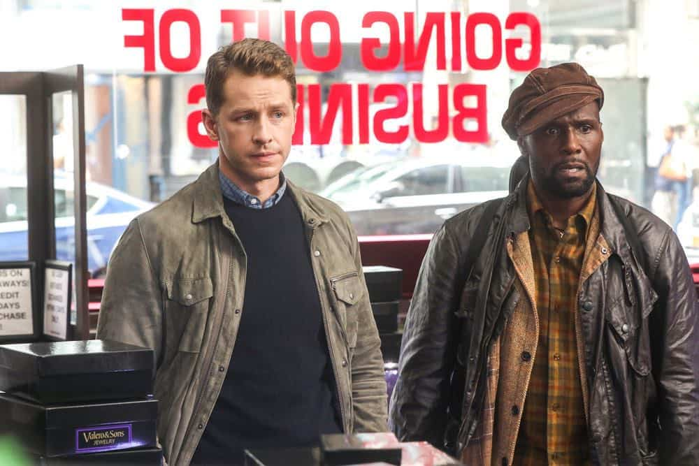 "MANIFEST -- ""Reentry"" Episode 102 -- Pictured: (l-r) Josh Dallas as Ben Stone, Curtiss Cook as Radd -- (Photo by: Craig Blankenhorn/NBC)"