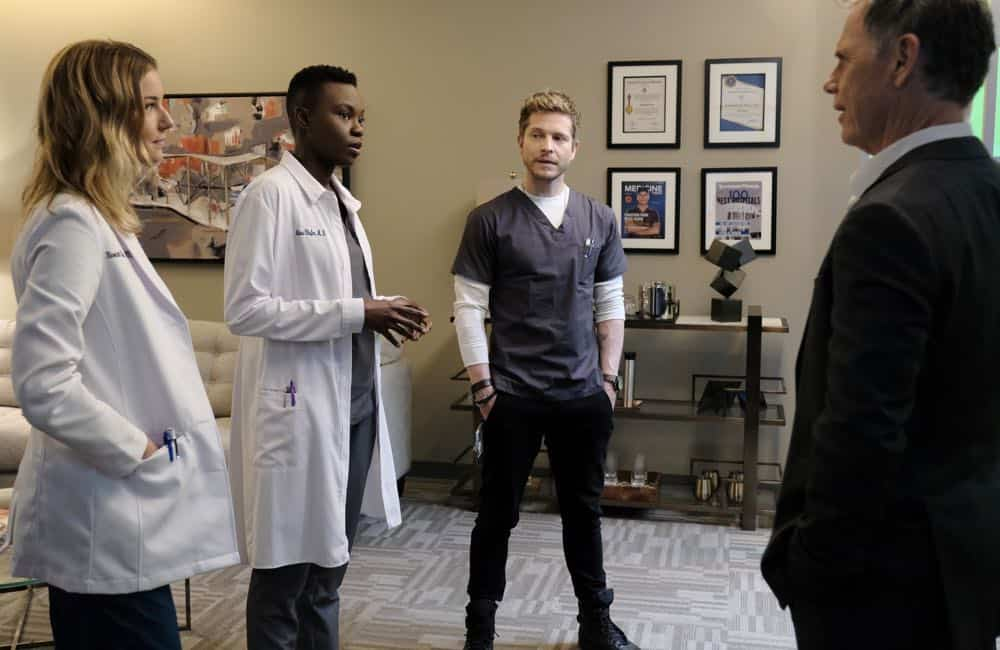 "THE RESIDENT: L-R: Emily VanCamp, Shaunette Renée Wilson, Matt Czuchry and Bruce Greenwood in the ""The Prince & The Pauper"" episode of THE RESIDENT airing Monday, Oct. 1 (8:00-9:00 PM ET/PT) on FOX. ©2018 Fox Broadcasting Co. Cr: Guy D'Alema/FOX"