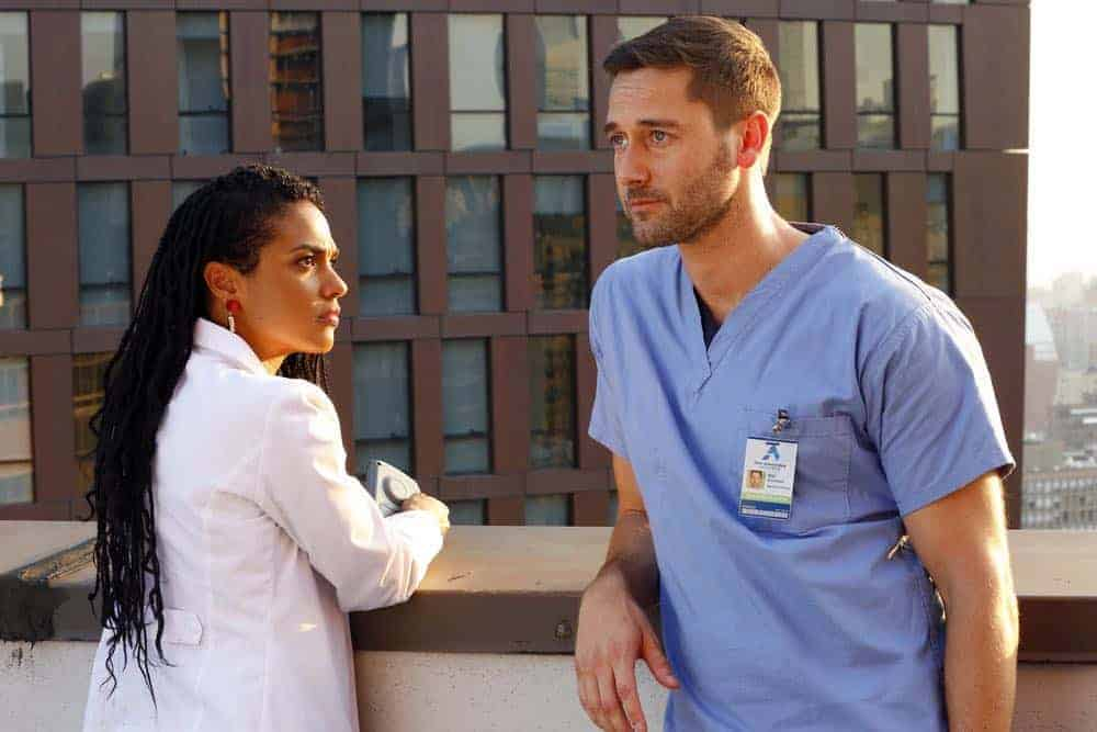 "NEW AMSTERDAM -- ""Rituals"" Episode 102 -- Pictured: (l-r) Freema Agyeman as Dr. Helen Sharpe, Ryan Eggold as Dr. Max Goodwin -- (Photo by: Will Hart/NBC)"