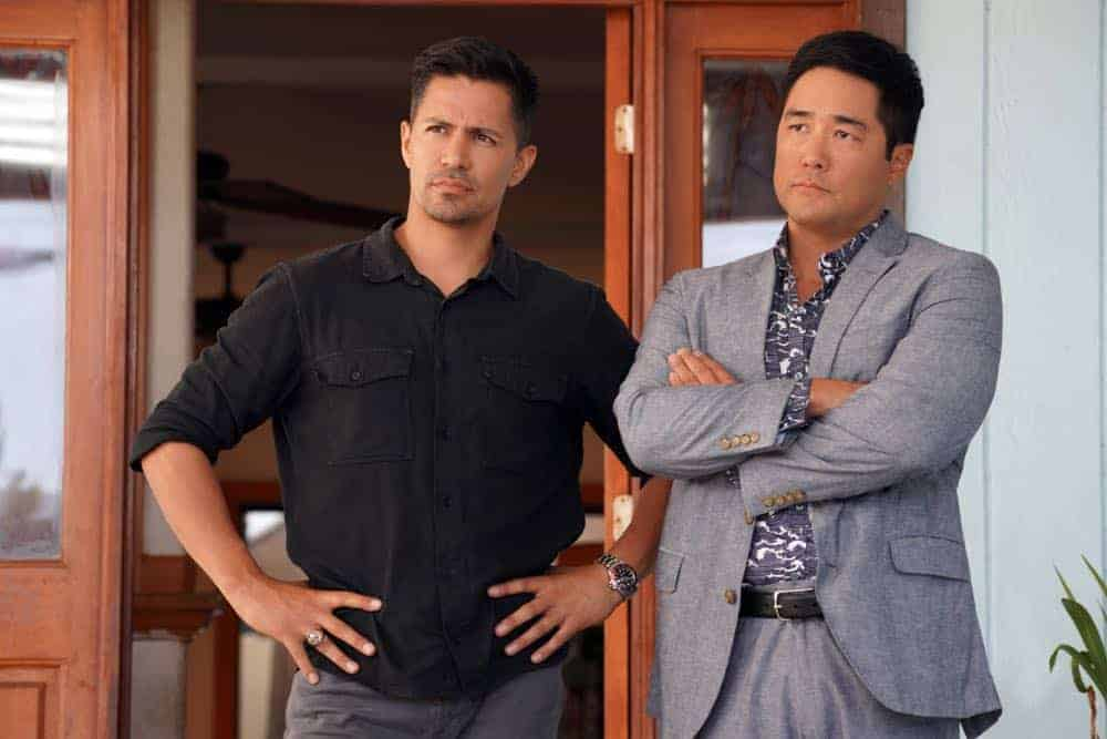 """""""The Woman Who Never Died"""" -- Magnum takes a case from fellow private investigator Luther Gillis to find the true identity of a man's comatose fiance when he learns that she's had severe facial surgery, on MAGNUM P.I., Monday, Oct. 8 (9:00-10:00 PM, ET/PT) on the CBS Television Network. Pictured L-R: Jay Hernandez as Thomas Magnum and Tim Kang as Det. Gordon Katsumoto Photo: Karen Neal/CBS ©2018 CBS Broadcasting, Inc. All Rights Reserved"""