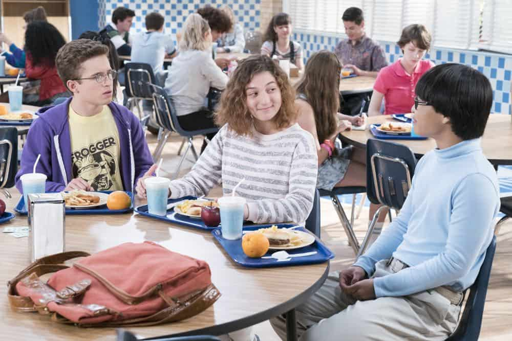 "THE GOLDBERGS - ""You Got Zuko'd"" - Adam's girlfriend, Jackie, is back after spending her summer at NYU; she has changed so much, it's almost like she's a whole different person. After receiving some not-so-great romantic advice from his loved ones, Adam takes drastic measures to hold on to his relationship. Meanwhile, Beverly is not happy with Lainey's less-than-ideal domestic skills and decides to teach her future daughter-in-law a thing or two, on ""The Goldbergs,"" WEDNESDAY, OCT. 3 (8:00-8:30 p.m. EDT), on The ABC Television Network. (ABC/Ron Tom)<br /> SEAN GIAMBRONE, STEPHANIE KATHERINE GRANT, KENNY RIDWAN"