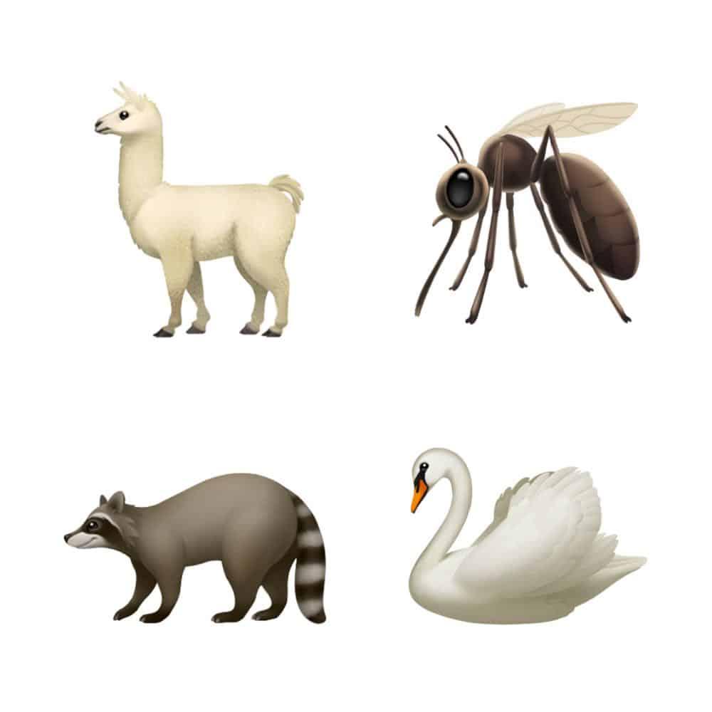 ios 121 emoji update llama mosquito swan raccoon 10012018