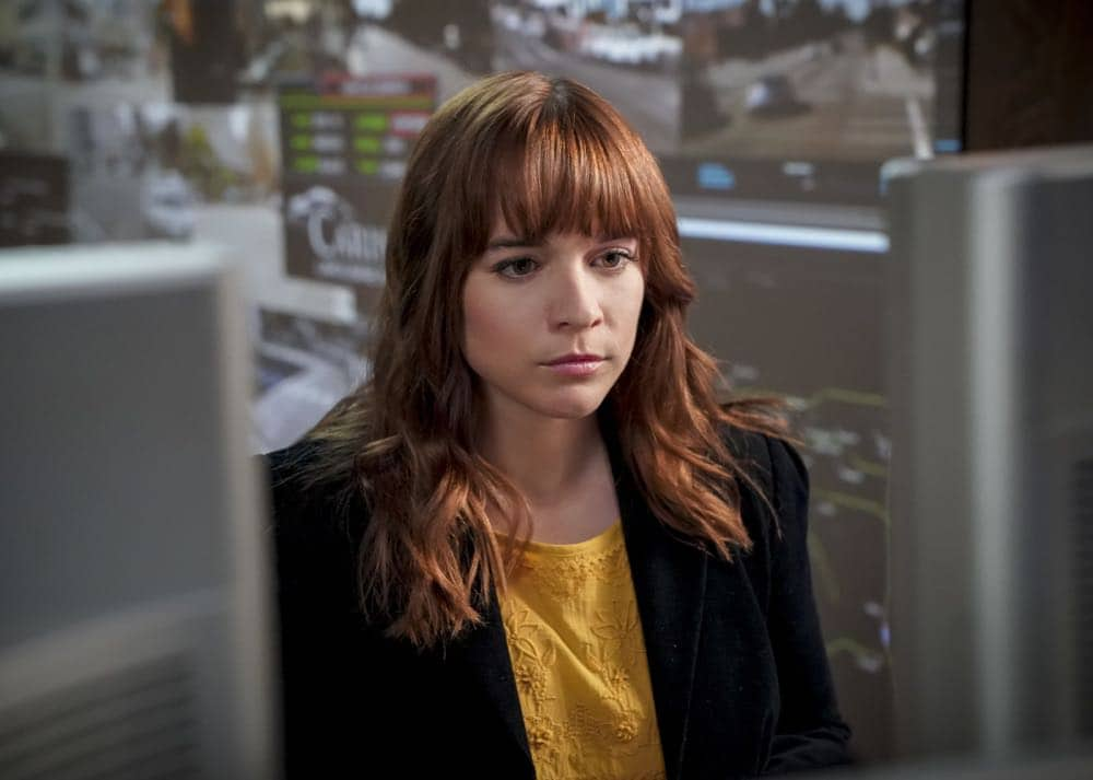 """""""Superhuman"""" -- Pictured: Renée Felice Smith (Intelligence Analyst Nell Jones). After the prototype for a tactical assault suit is stolen from a Navy base and used in a Beverly Hills jewelry heist, the team must determine who stole the suit and what their next target is. Also, retired Navy Admiral Hollace Kilbride (Gerald McRaney) temporarily oversees the team while Mosely and Hetty face repercussions for the unsanctioned Mexico mission, on NCIS: LOS ANGELES, Sunday, Oct. 7 (9:00-10:00 PM, ET/PT) on the CBS Television Network. Photo: Ron P. Jaffe/CBS ©2018 CBS Broadcasting, Inc. All Rights Reserved."""