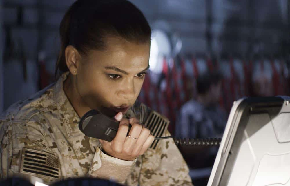 """Fracture"" -- Jason and Bravo Team head to the Gulf of Guinea to rescue American hostages after an oil platform is overtaken by armed militants, on the second season premiere of SEAL TEAM, Wednesday, Oct. 3 (9:00-10:00 PM, ET/PT) on the CBS Television Network. Pictured: Toni Trucks as Lisa Davis. Photo: Screengrab/CBS ©2018 CBS Broadcasting, Inc. All Rights Reserved"
