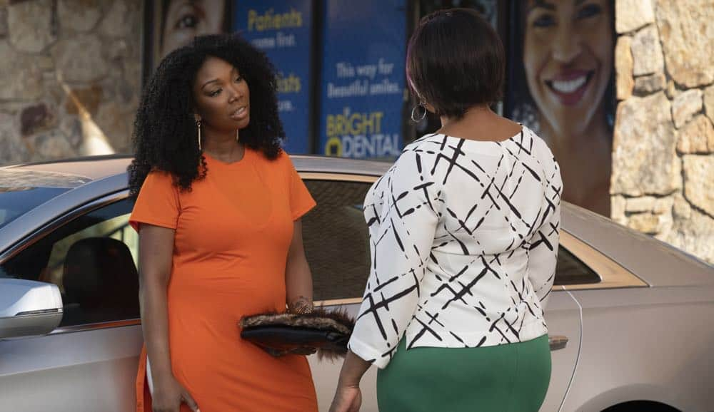 "STAR: L-R: Brandy Norwood and Queen Latifah in the ""Who's The Daddy"" Season Three episode of STAR airing Wednesday, October 3 (9:00-10:00 PM ET/PT) on FOX. ©2018 Fox Broadcasting Co. CR: Wilford Harewood/FOX"