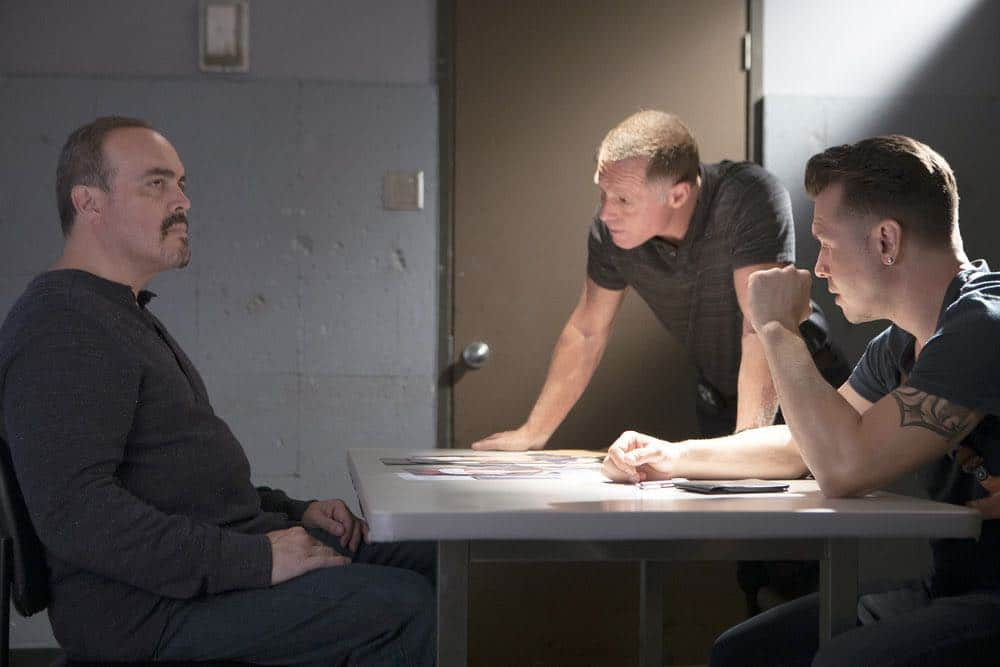 "CHICAGO P.D. -- ""Endings"" Episode 603 -- Pictured: (l-r) David Zayas as Carlos, Jason Beghe as Hank Voight, Jon Seda as Antonio Dawson -- (Photo by: Adrian Burrows/NBC)"