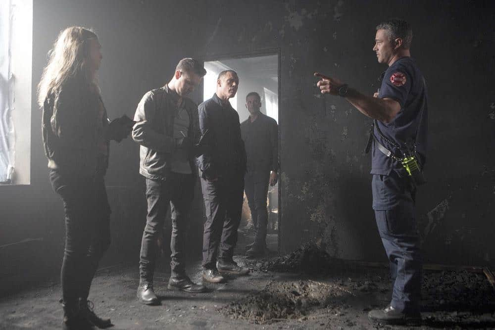 "CHICAGO P.D. -- ""Endings"" Episode 603 -- Pictured: (l-r) Tracy Spiridakos as Hailey Upton, Jon Seda as Antonio Dawson, Jason Beghe as Hank Voight, Jesse Lee Soffer as Jay Halstead, Taylor Kinney as Kelly Severide -- (Photo by: Adrian Burrows/NBC)"