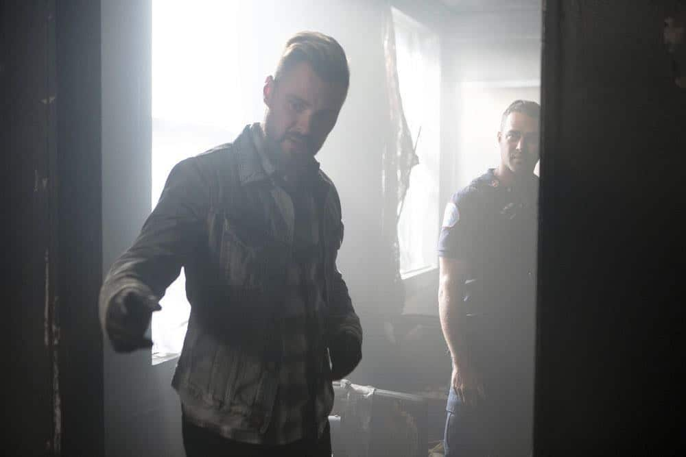 "CHICAGO P.D. -- ""Endings"" Episode 603 -- Pictured: (l-r) Patrick John Flueger as Adam Ruzek, Taylor Kinney as Kelly Severide -- (Photo by: Adrian Burrows/NBC)"