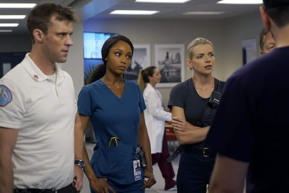 "CHICAGO MED -- ""When To Let Go"" Episode 402 -- Pictured: (l-r) Jesse Spencer as Matthew Casey, Yaya DaCosta as April Sexton, Kara Killmer as Sylvie Brett -- (Photo by: Elizabeth Sisson/NBC)"