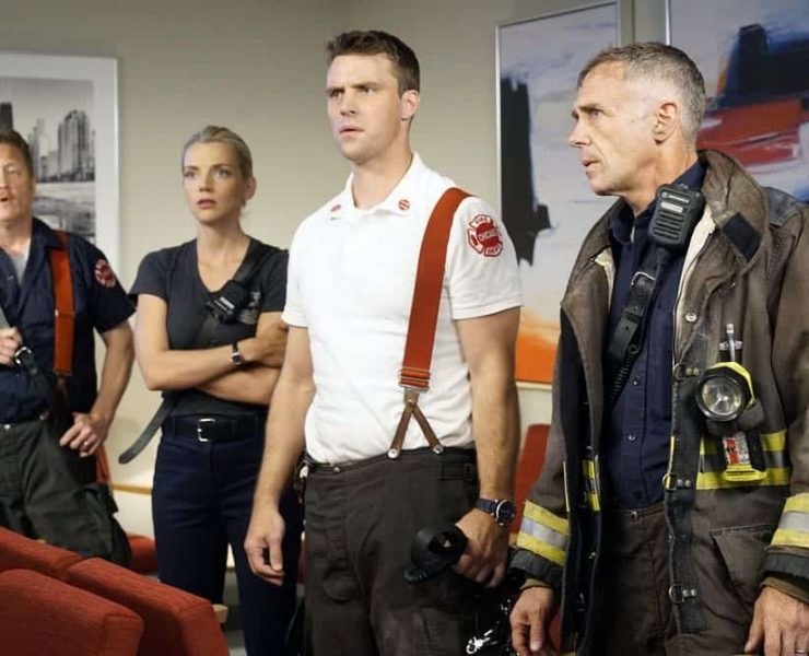 "CHICAGO MED -- ""When To Let Go"" Episode 402 -- Pictured: (l-r) Christian Stolte as Randy ""Mouch"" McHolland, Kara Killmer as Sylvie Brett, Jesse Spencer as Matthew Casey, David Eigenberg as Christopher Herrmann -- (Photo by: Elizabeth Sisson/NBC)"