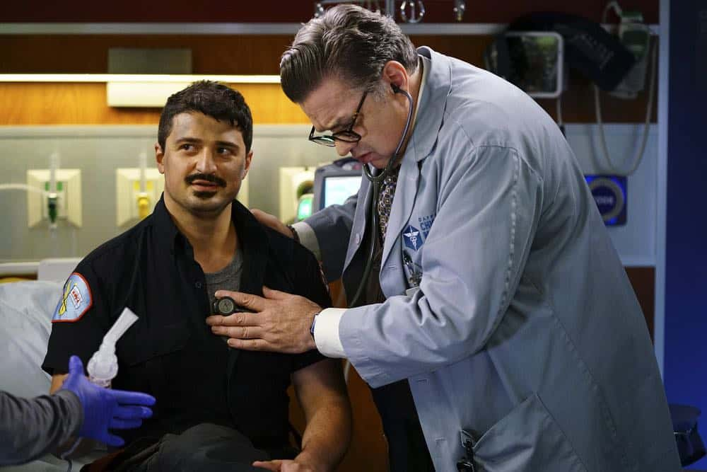 "CHICAGO MED -- ""When To Let Go"" Episode 402 -- Pictured: (l-r) Yuri Sardarov as Brian ""Otis"" Zvonecek, Oliver Platt as Daniel Charles -- (Photo by: Elizabeth Sisson/NBC)"