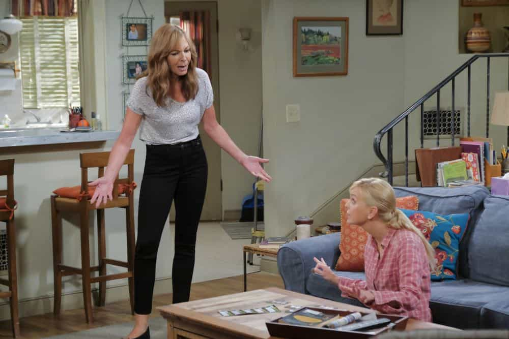 """Go-Go Boots and a Butt Cushion"" -- When Christy doesn't need Gambler's Anonymous anymore, Bonnie vehemently disagrees, on MOM, Thursday, date (9:01-9:31 PM, ET/PT) on the CBS Television Network. Pictured L to R: Allison Janney as Bonnie and Anna faris as Christy.  Photo: Darren Michaels/Warner Bros. Entertainment Inc. © 2018 WBEI. All rights reserved."