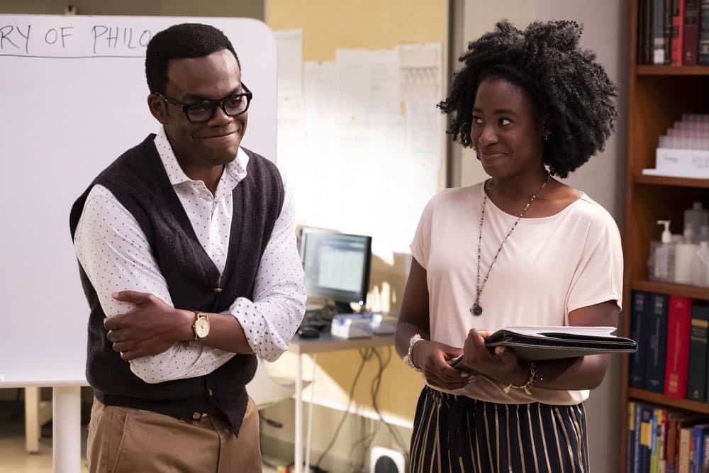 "THE GOOD PLACE -- ""The Brainy Bunch"" Episode 303 -- Pictured: (l-r) William Harper Jackson as Chidi, Kirby Howell-Baptiste as Simone Garnett -- (Photo by: Justin Lubin/NBC)"