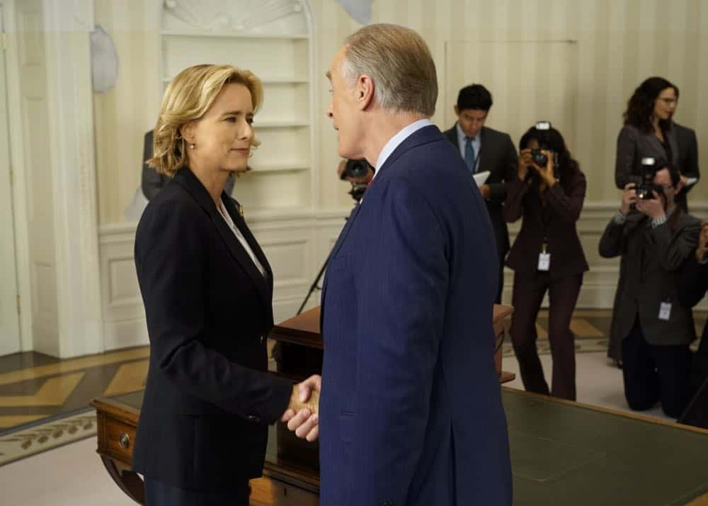"""E Pluribus Unum""-- Former Secretaries of State Hillary Clinton, General Colin Powell and Madeleine Albright joined Téa Leoni on set at Madam Secretary. In this upcoming episode, Secretary of State Elizabeth McCord turns to the former Secretaries of State to ask their advice on how to respond to a delicate situation, in the fifth season premiere of MADAM SECRETARY, Sunday, October 7 (10:00-11:00 PM ET/PT) on the CBS Television Network. Pictured (L-R) Téa Leoni as Elizabeth McCord and Keith Carradine as President Conrad Dalton. Photo: David M. Russell/CBS©2018 CBS Broadcasting, Inc. All Rights Reserved"
