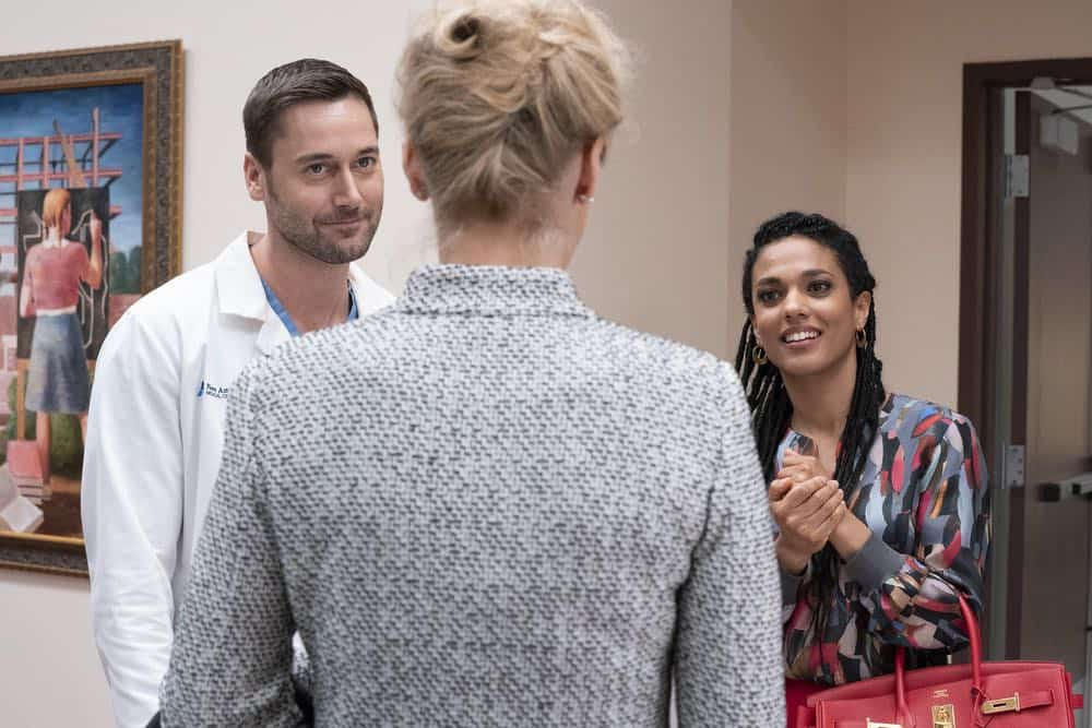 "NEW AMSTERDAM -- ""Every Last Minute"" Episode 103 -- Pictured: (l-r) Ryan Eggold as Dr. Max Goodwin, Freema Agyeman as Dr. Helen Sharpe -- (Photo by: Virginia Sherwood/NBC)"