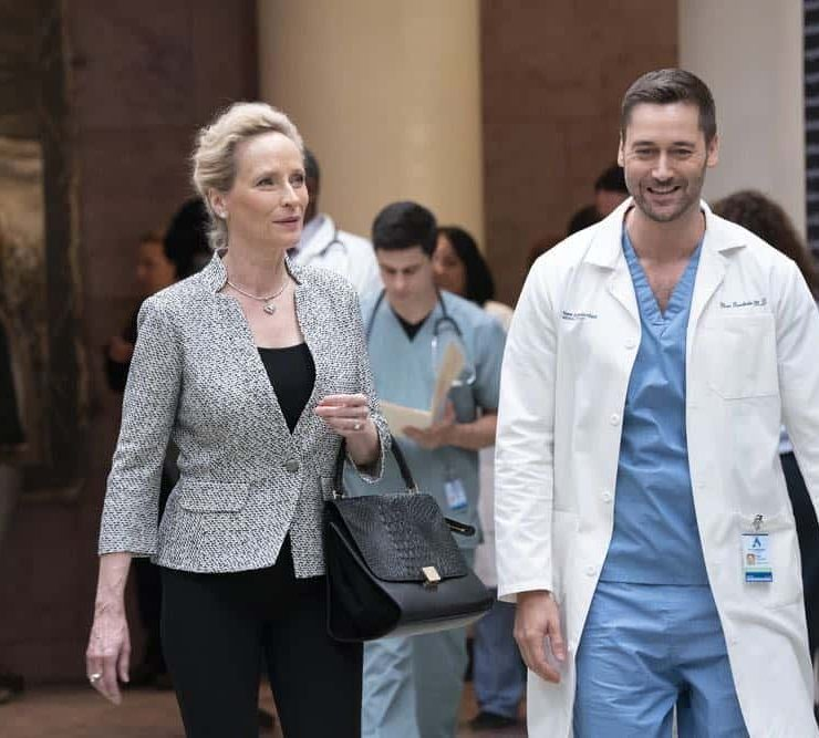 """NEW AMSTERDAM -- """"Every Last Minute"""" Episode 103 -- Pictured: (l-r) Laila Robins as Mrs. Ryland, Ryan Eggold as Dr. Max Goodwin -- (Photo by: Virginia Sherwood/NBC)"""