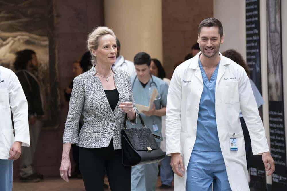 "NEW AMSTERDAM -- ""Every Last Minute"" Episode 103 -- Pictured: (l-r) Laila Robins as Mrs. Ryland, Ryan Eggold as Dr. Max Goodwin -- (Photo by: Virginia Sherwood/NBC)"