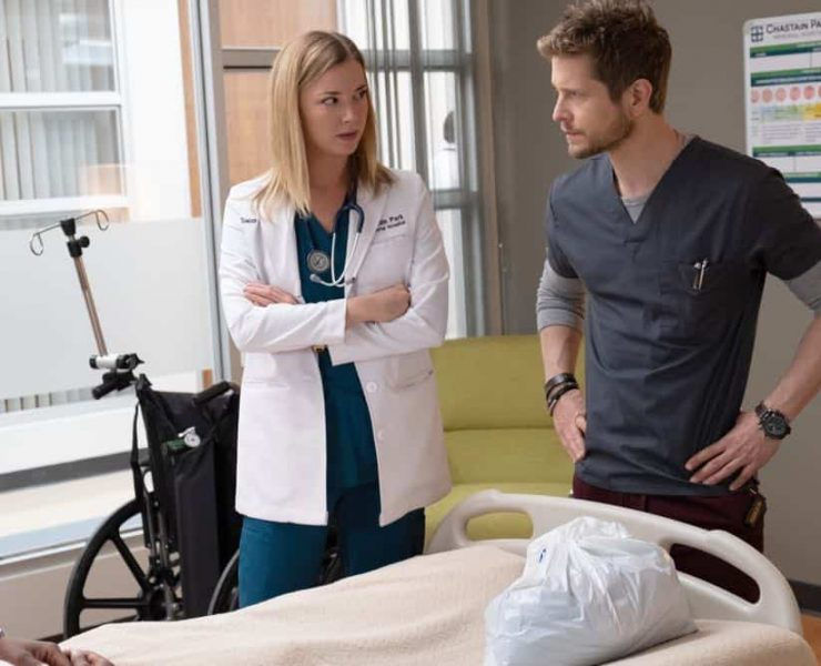 """THE RESIDENT: L-R: Emily VanCamp and Matt Czuchry in the """"Three Words"""" episode of THE RESIDENT airing Monday, Oct. 1 (8:00-9:00 PM ET/PT) on FOX. ©2018 Fox Broadcasting Co. Cr: Erika Doss/FOX."""