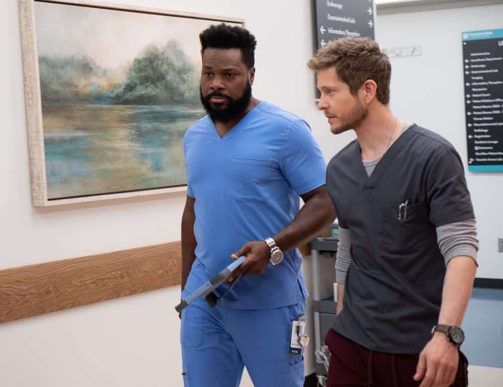 "THE RESIDENT: L-R:  Malcolm-Jamal Warner and Matt Czuchry in the ""Three Words"" episode of THE RESIDENT airing Monday, Oct. 1 (8:00-9:00 PM ET/PT) on FOX. ©2018 Fox Broadcasting Co. Cr:  Erika Doss/FOX."