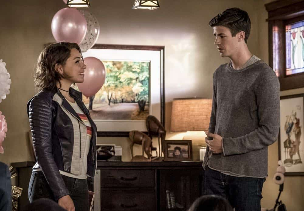 "The Flash -- ""Nora"" -- Image Number: FLA501a_0170.jpg -- Pictured (L-R): Jessica Parker Kennedy as Nora West - Allen and Grant Gustin as Barry Allen -- Photo: Katie Yu/The CW -- © 2018 The CW Network, LLC. All rights reserved"