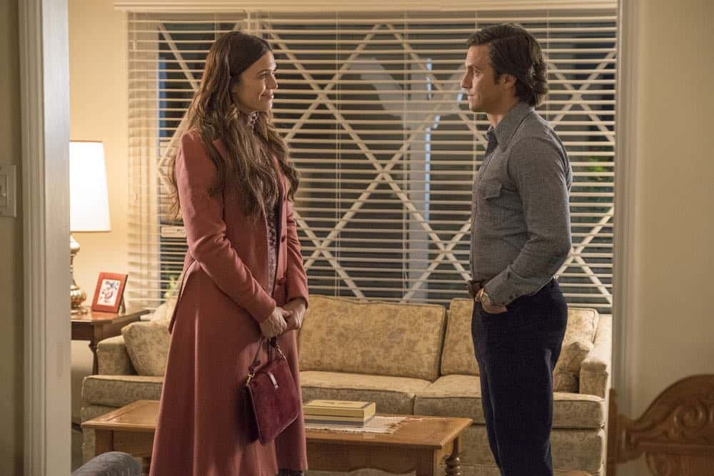 "THIS IS US -- ""Katie Girls"" Episode 303 -- Pictured: (l-r) Mandy Moore as Rebecca, Milo Ventimiglia as Jack -- (Photo by: Ron Batzdorff/NBC)"