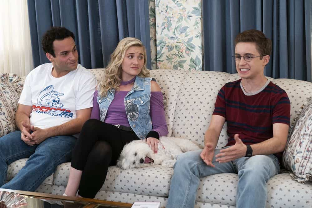 "THE GOLDBERGS - ""RAD!"" - Erica thinks all of her singing dreams are going to come true when she lands a job at the new karaoke bar in town. But when she's tasked with bringing in more customers, will Erica regret turning to Beverly for help? Meanwhile, Murray tries to teach Barry and Lainey how to be financially responsible adults, on ""The Goldbergs,"" WEDNESDAY, OCT. 10 (8:00-8:30 p.m. EDT), on The ABC Television Network. (ABC/Ron Tom) TROY GENTILE, AJ MICHALKA, SEAN GIAMBRONE"