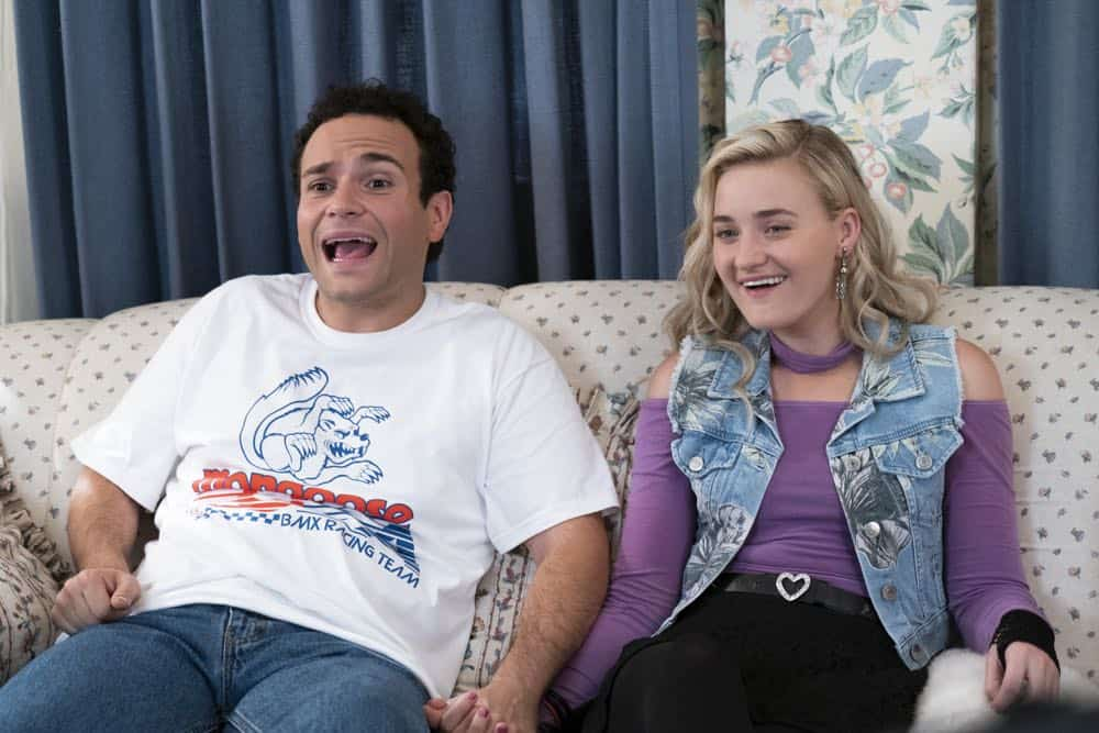 "THE GOLDBERGS - ""RAD!"" - Erica thinks all of her singing dreams are going to come true when she lands a job at the new karaoke bar in town. But when she's tasked with bringing in more customers, will Erica regret turning to Beverly for help? Meanwhile, Murray tries to teach Barry and Lainey how to be financially responsible adults, on ""The Goldbergs,"" WEDNESDAY, OCT. 10 (8:00-8:30 p.m. EDT), on The ABC Television Network. (ABC/Ron Tom) TROY GENTILE, AJ MICHALKA"