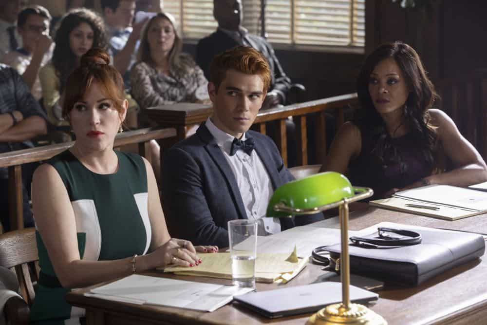 "Riverdale -- ""Chapter Thirty-Six: Labor Day"" -- Image Number: RVD301b_0217.jpg -- Pictured (L-R): Molly Ringwald as Mary Andrews, KJ Apa as Archie and Robin Givens as Sierra McCoy -- Photo: Jack Rowand/The CW -- © 2018 The CW Network, LLC. All Rights Reserved."