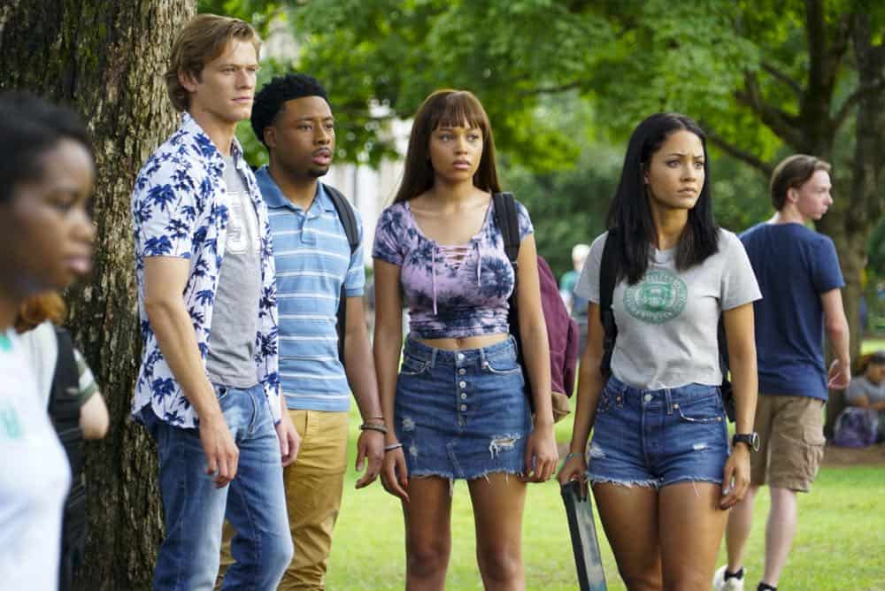 """""""Bozer + Booze + Back to School"""" -- MacGyver, Riley, Bozer and Leanna go undercover on a college campus to smoke out a deep-cover operative who is recruiting students to carry out deadly attacks around the world. Also, Jack joins bounty hunter Billy Colton (Lance Gross) in the hunt for a bail jumper but is concerned when he finds out Billy offered Riley a job, on MACGYVER, Friday, Oct. 12 (8:00-9:00 PM, ET/PT) on the CBS Television Network. Pictured: Lucas Till, Justin Hires, Reign Edwards, Tristin Mays Photo: Annette Brown/CBS ©2018 CBS Broadcasting, Inc. All Rights Reserved"""