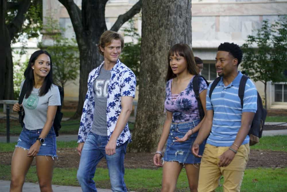 """""""Bozer + Booze + Back to School"""" -- MacGyver, Riley, Bozer and Leanna go undercover on a college campus to smoke out a deep-cover operative who is recruiting students to carry out deadly attacks around the world. Also, Jack joins bounty hunter Billy Colton (Lance Gross) in the hunt for a bail jumper but is concerned when he finds out Billy offered Riley a job, on MACGYVER, Friday, Oct. 12 (8:00-9:00 PM, ET/PT) on the CBS Television Network. Pictured: Tristin Mays, Lucas Till, Reign Edwards, Justin Hires. Photo: Annette Brown/CBS ©2018 CBS Broadcasting, Inc. All Rights Reserved"""
