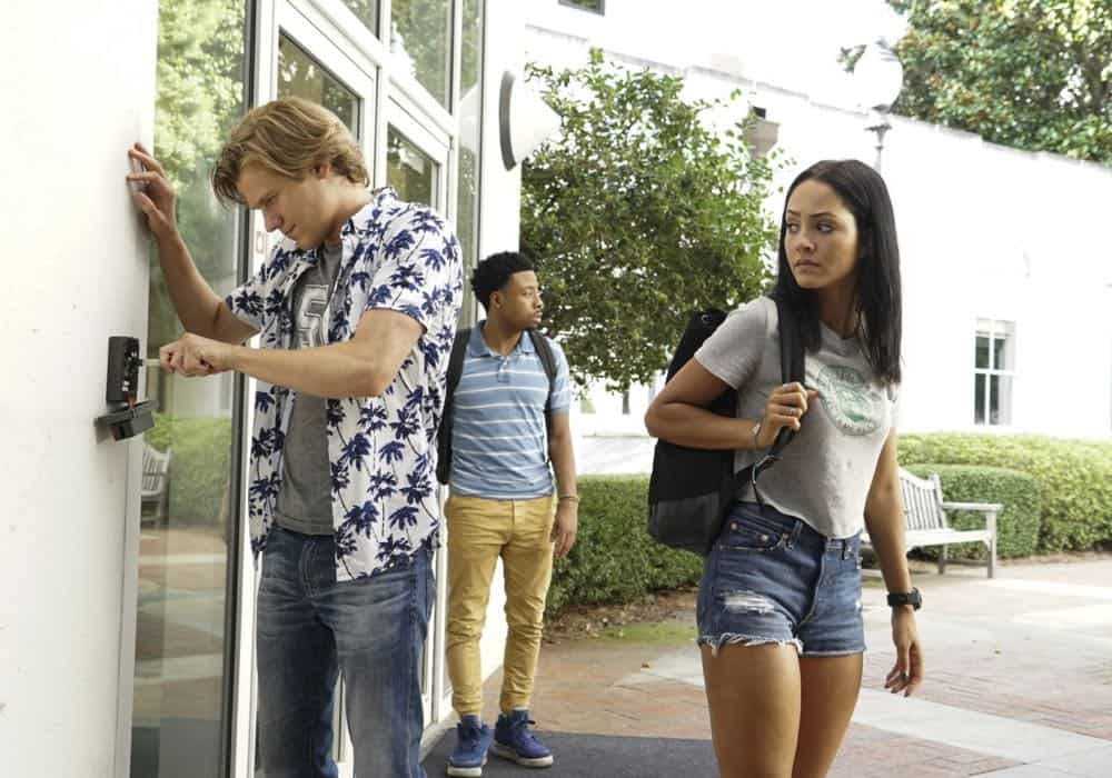 """""""Bozer + Booze + Back to School"""" -- MacGyver, Riley, Bozer and Leanna go undercover on a college campus to smoke out a deep-cover operative who is recruiting students to carry out deadly attacks around the world. Also, Jack joins bounty hunter Billy Colton (Lance Gross) in the hunt for a bail jumper but is concerned when he finds out Billy offered Riley a job, on MACGYVER, Friday, Oct. 12 (8:00-9:00 PM, ET/PT) on the CBS Television Network. Pictured: Lucas Till, Justin Hires, Tristin Mays Photo: Annette Brown/CBS ©2018 CBS Broadcasting, Inc. All Rights Reserved"""