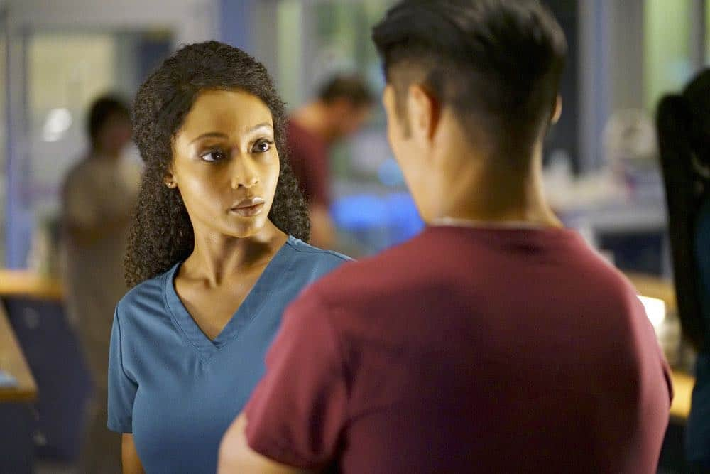 "CHICAGO MED -- ""Heavy Is The Head"" Episode 403 -- Pictured: Yaya DaCosta as April Sexton -- (Photo by: Elizabeth Sisson/NBC)"
